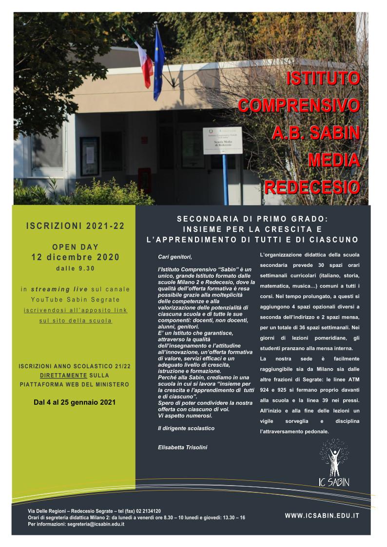 Volantino di presentazione della sede di Redecesio - fronte